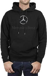 Mens Black Sweatshirt Mercedes-Benz-Logo- Fleece Long Sleeve Pullover