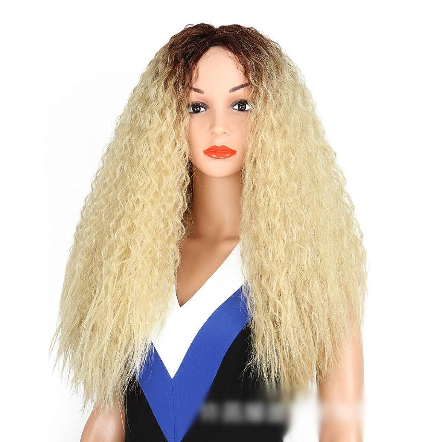 微弱指導する苦しむHOHYLLYA 女性のブロンドのダークルーツのトウモロコシの熱い髪の爆発ヘッドロングカーリーウィッグ耐熱ファイバーパーティーウィッグ (色 : Blonde)