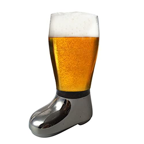 BARRAID Glass Beer Boot Electroplated Tumbler/Mug (750 ml, Silver)