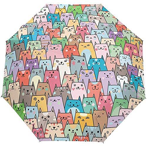 Nette Katzen-Tierauto-geöffneter Regenschirm-Sonnenregen-Regenschirm Anti-UV, der kompakten automatischen Regenschirm faltet