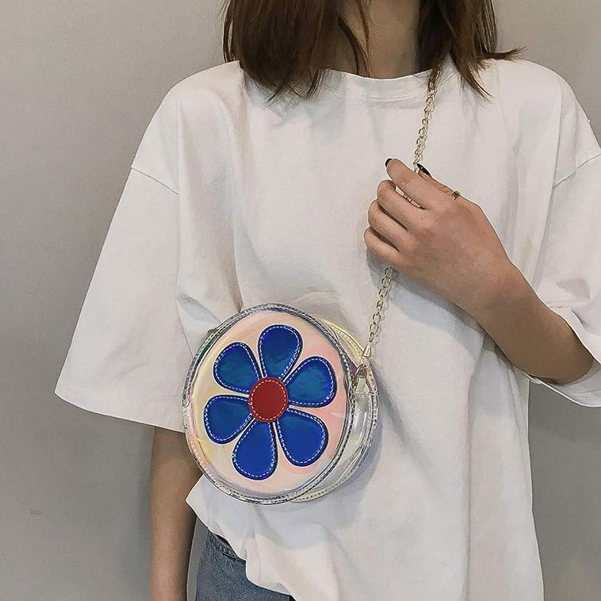 財布りんご写真女性カジュアル野生透明花かわいいショルダーバッグメッセンジャーバッグ、ファッション女性透明レーザーフラワーショルダーバッグメッセンジャーバッグ (ブルー)