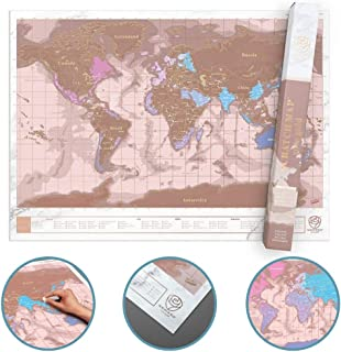 Scratch Off Map, Personalized Scratch Map of The World Poster, Premium Quality Travel Map with Countries, Capitals, Cities and States, Manufactured in The UK