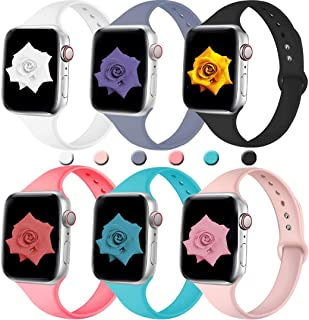 Elaikement Slim Bands Compatible for iWatch 38mm 40mm 42mm 44mm, Series 4 Series 3 Series 2 Series 1, Sport Silicone Band Narrow Slim Thin Small Rubber Strap for Women/Men, Large/Small