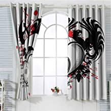Grommet Window Curtain Window Curtain 2 Panel Tattoo,Conjoined Hearts with Skull Eagle Wings Symbol of The Brave Love Print,Black White and Red Curtain Living Room 63 x 45 inch