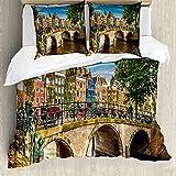 ABAKUHAUS Ámsterdam Funda Nórdica, Puente sobre un Canal, Estampado Lavable, 3 Piezas con 2 Fundas de Almohada, 200 cm x 200 cm - 80 x 80 cm, Multicolor