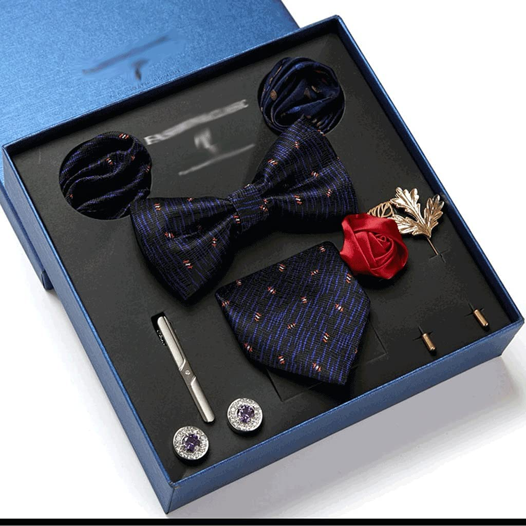 NSXKB Gift Box Packing Men's Vintage Formal Cravat Ascot Tie Self British Style Gentleman Silk Tie Set (Color : B)