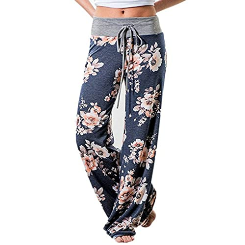 49fd030398 AMiERY Women's Comfy Casual Pajamas Pant Floral Printed High Waist Wide Legs  Lounge Pants Trousers