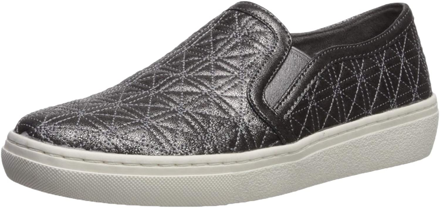 Skechers Womens goldie - Distressed Metallic Quilted Slip on Sneaker