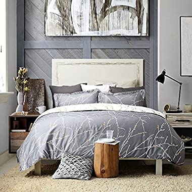 Bedsure Luxury Printed Duvet Cover Set Modern Microfiber with Zipper Closure and Corner Ties Grey Ivory Branch Pattern Full Queen Size 86 x96  with Two Pillow Sham Soft Unique
