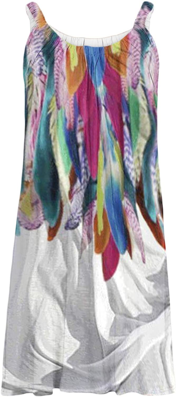 Women Summer Sleeveless Dragonfly Print Sun Dresses Casual Pleated Beach Dress Tank Dress Plus Size