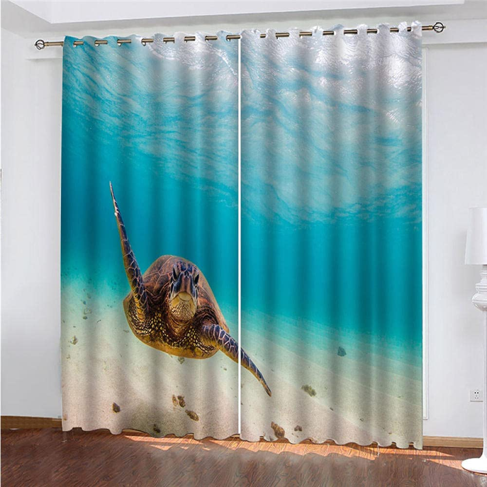 Max 83% Nippon regular agency OFF 2 Panels Eyelet Curtain Drapes Insulat Thermal Sea Turtle