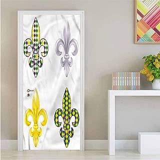 Mardi Gras,3D Door Wallpaper Fleur De Lis Motifs for Home Decoration W23.6xH78.7