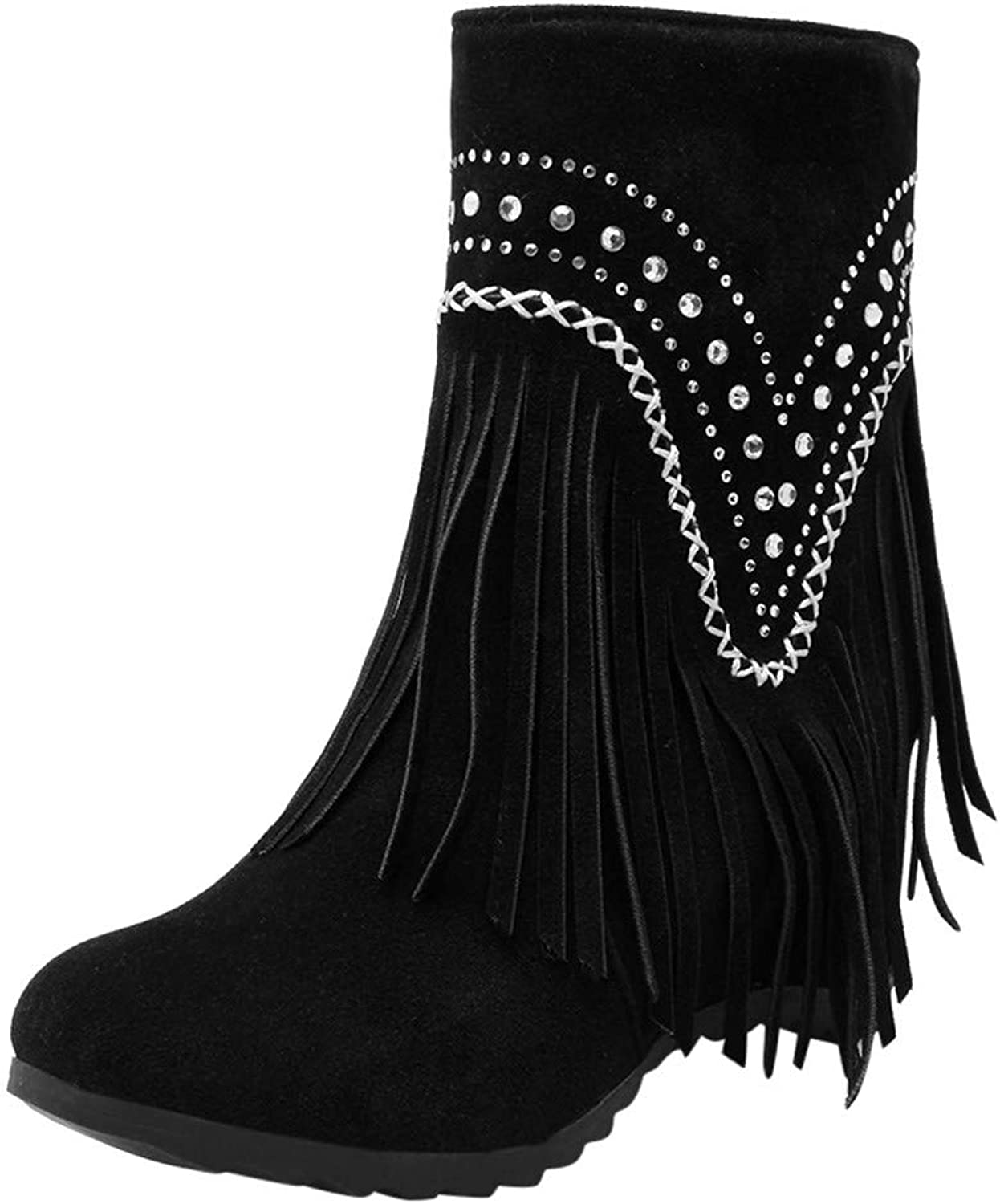 RedBrowm-women Warm Solid Tassel Crystal Increase Retro Ankle Boots Round Toe shoes Black