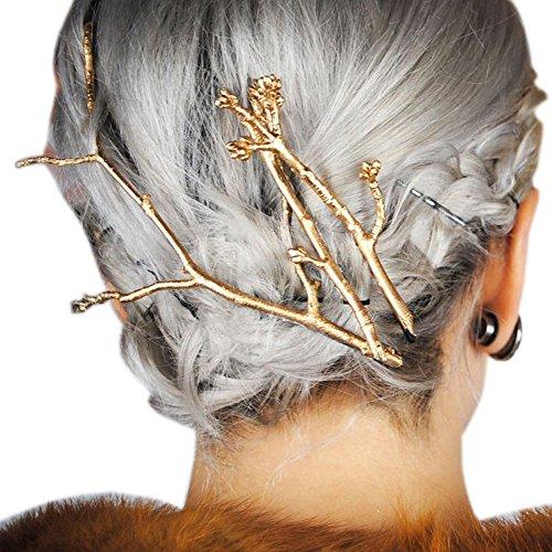 RechicGu Gold Plated Chic Runway 3Pcs Tree Branch Hair Pin Headband Dress Snap Barrette Clip...