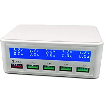 portable charging station QC quick charge 3.0 with 5 USB ports LCD character display Electrone USB quick charging part number ORLLC818a