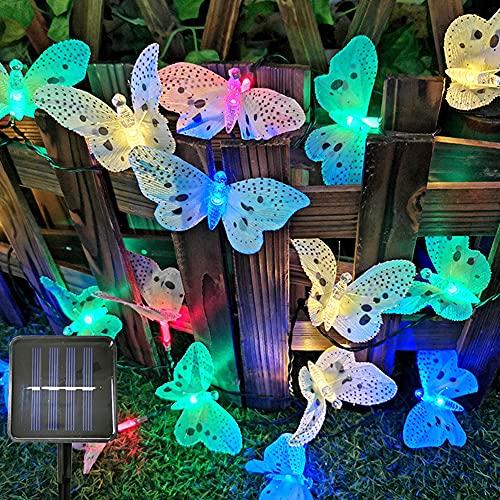 Guirnalda de luces solares con diseño de mariposa, con luces LED, resistente al agua, para jardín, terraza, terraza, fibra de vidrio, lámpara de vacaciones, decoración de vacaciones