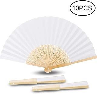 Samione Handfächer, Weisse Chinesische Leeres Papier Fans DIY Papierhand Folding Fan Hochzeit Faltfächer Kirche Kinder Geschenk10er