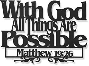 Inspirational Word Art, Christian Faith Biblical Verse Wall Sign, Hand-Made Wooden Decoration Plaque for Home, Office, Church (with God All Things are Possible.)