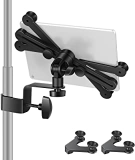 Neewer 7-14 inches Adjustable Tablet Holder Mount with 360 Degree Swivel Clamp for Connecting with Microphone Stand, Compa...