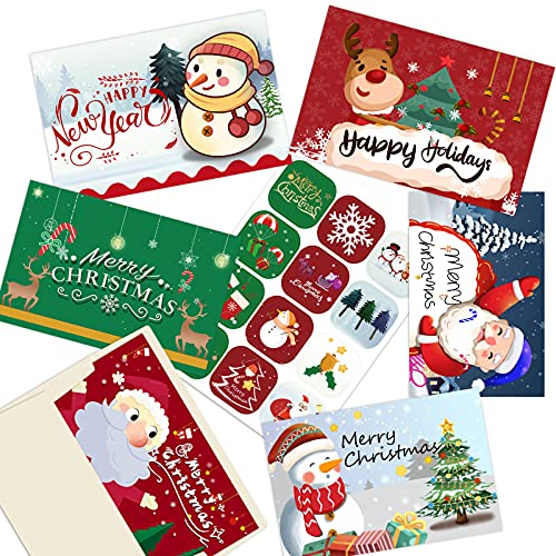 24 Christmas Cards Set- Holiday Greeting with Envelopes and Stickers,6 Unique Designs -Winter Merry Christmas Season, Holiday Gift Giving, Xmas Gifts Cards - 7.87 x5.9'