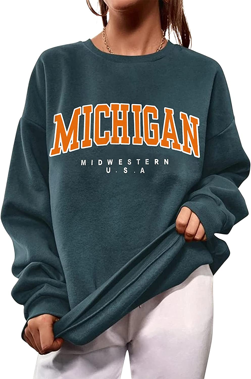 Meladyan Women Fleece Michigan Letter Graphic Print Sweatshirt Oversized Crewneck Drop Shoulder Long Sleeve Pullover Top