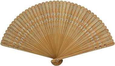 Vosarea Éventail à Main Bambou Soie Eventail Bois Ventilateur Pliant Vintage Eventail
