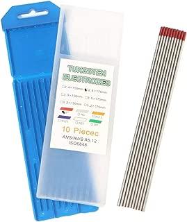 ZhanPing 10Pcs 3 / 32inch x 7inch (2.4x175mm) Red WT20 2% Soldadura de tungsteno toriado Varillas de Soldadura de electrodos TIG Accesorios de Soldadura