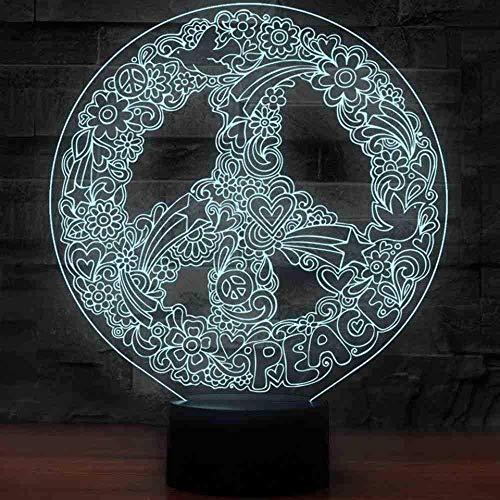 3D Art Hippie Peace Sign Shape Luces Nocturnas Para 7 Colores Que Cambian La Iluminación Llevada Decoración Creativa De La Oficina Lámpara De Mesa Usb