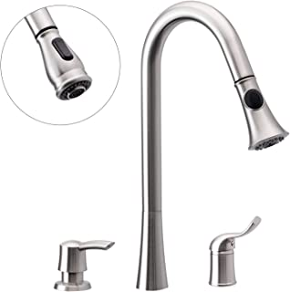 3 Hole Kitchen Sink Faucet with Pull Down Spray Side Single Handle with Soap Dispenser Brushed Nickel Peppermint