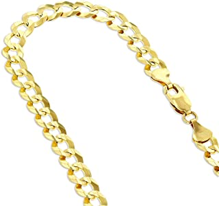 14k White or Yellow Gold Italy Cuban Curb Solid Chain Necklace 5.5mm Wide with Lobster Clasp