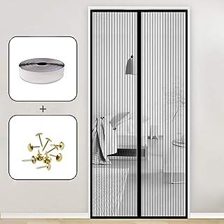 GOUDU Mosquitera Puerta Magnetica, 75x210cm Mosquiteras Enrollables Magnética Automático Cierra Automáticamente para Puertas Correderas/Balcones/Terraza, Negro A