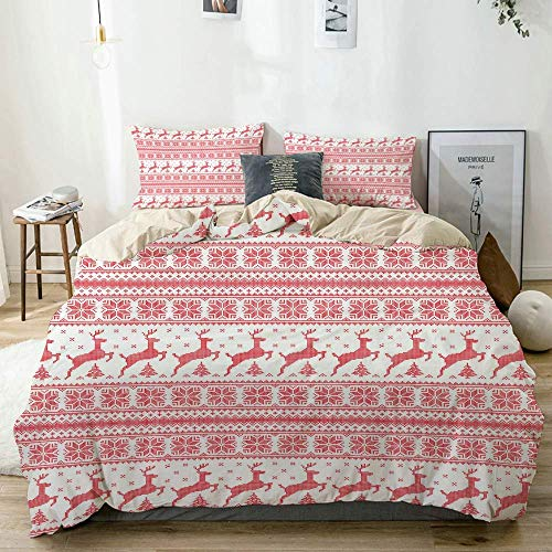 Duvet Cover Set Beige,Nordic Winter Time Reindeers Print,Decorative 3 Piece Bedding Set with 2 Pillow Shams Easy Care Anti-Allergic Soft Smooth