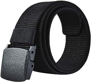 Mens Belt Web,Nylon Webbing Canvas Outdoor Casual Belt with Plastic Buckle