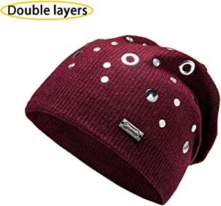 Unique Steampunk Wool Slouchy Beanie Knit Hats for Women Double Layers Winter Skull Caps