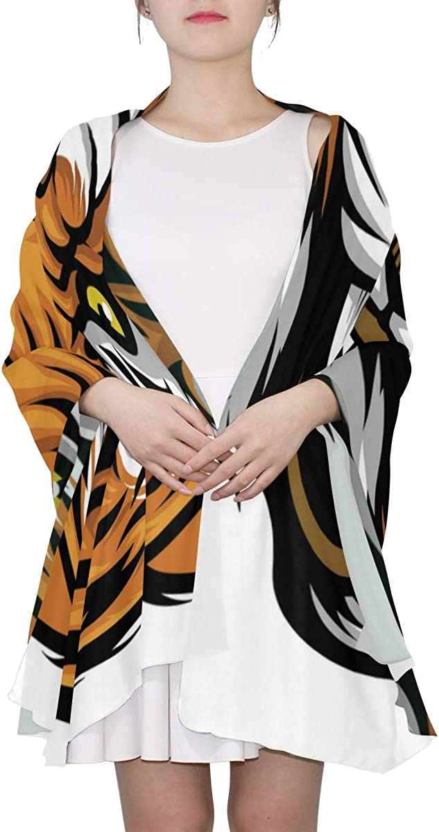 Black And Yellow Tiger Fierce Unique Fashion Scarf For Women Lightweight Fashion Fall Winter Print Scarves Shawl Wraps Gifts For Early Spring