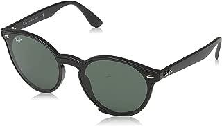 Ray-Ban RB4380N Blaze Round Sunglasses, Matte Black/Green, 37 mm