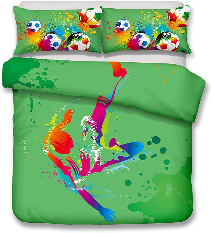 Missrui Parure de lit en Microfibre Douce imprimée Football - Taille complète - Lot de 4 pièces matelassées Plates - 2 taies d'oreillers - été Respirant, Coton, D193, Full(4PCS)