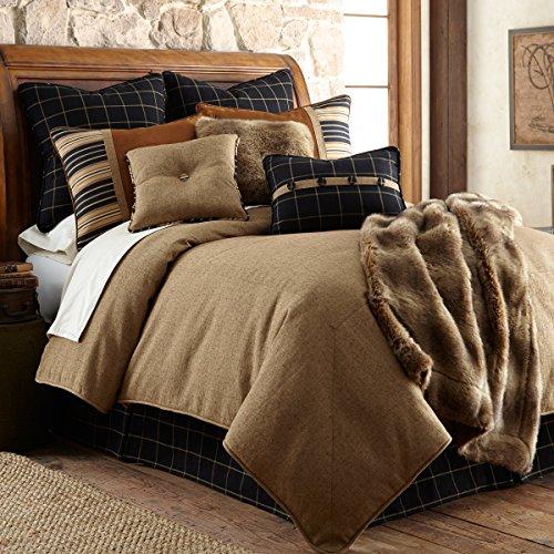 HiEnd Accents Ashbury Lodge Rustic Tweed Bedding Comforter Set, Super King, Black, Brown & Tan 5 PC