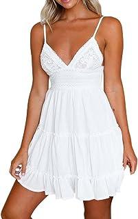 OVERDOSE Frauen Sommer Rückenfrei Mini Kleid Weiß Damen Abend Party Strand Kleider Sommerkleid