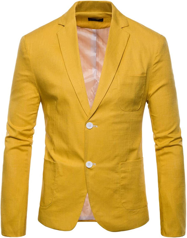 Wemaliyzd Men's Casual Linen Blazer Coat Notch Lapel 2 Buttons Suit Jacket