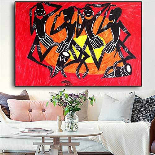 WSWWY Negro Abstracto afroamericano Retrato Pintura Sol Carteles e Impresiones Lienzo Arte Cuadros Pared Imagen para Sala de Estar (sin Marco) 30x45 cm