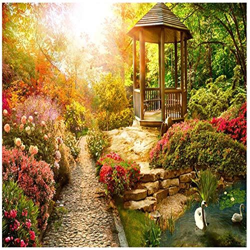 3D HD Vlies Wandtapete Benutzerdefinierte Pflanze Blume Sonne Pavillon Architektur Garten Hintergrund Wand Schlafzimmer Wohnzimmer TV Home Decoration