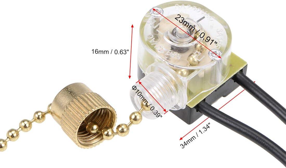 sourcing map Interruptor Cadena Tracci/ón SPST para L/ámpara Luz Ventilador Techo con Cadena Tracci/ón Dorada Dorado 10cm