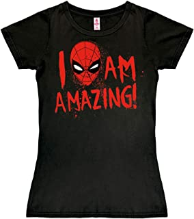 Logoshirt - Marvel Comics - Spider-Man - I Am Amazing - Camiseta para Mujer - Negro - Diseño Original con Licencia