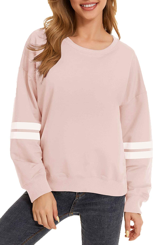 KINGFEN Womens Casual Crewneck Tie Dye Sweatshirt Striped Printed Loose Soft Long Sleeve Pullover Tops Shirts
