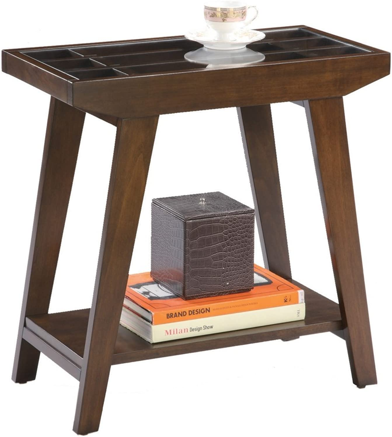 ORE International 7228 Traditional Glass Side End Table, 24-Inch, Espresso