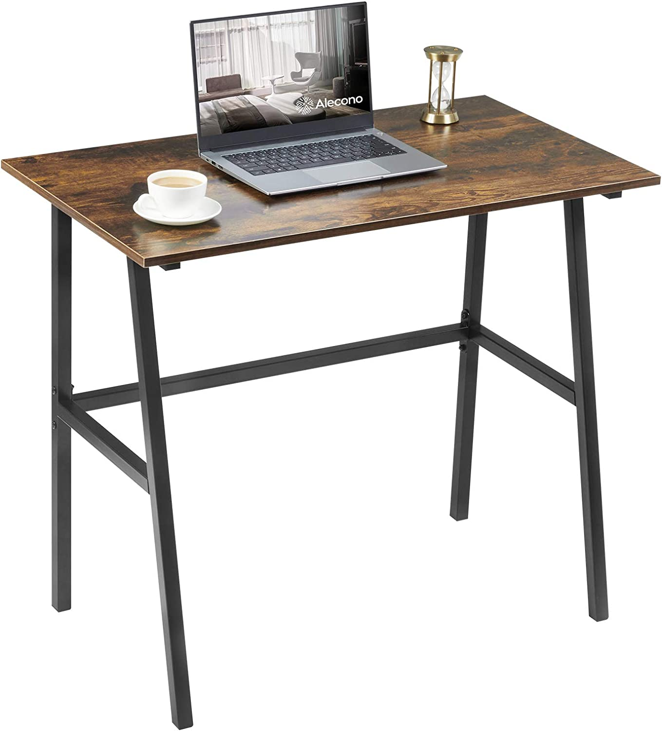 Small Computer Desk 35'' Study Writing Desk for Small Spaces Modern Simple Metal Frame Rustic Brown