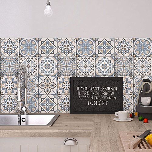 54 (Piezas) Adhesivo para Azulejos 10x10 cm - PS00023 - Firenze - Adhesivo Decorativo para Azulejos para baño y Cocina - Stickers Azulejos - Collage de Azulejos