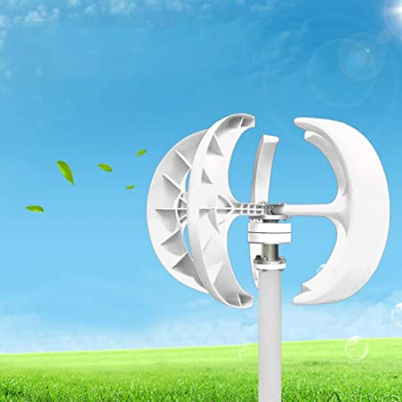 Wind Turbine Generator Kit, 12V 600W Vertical Axis Wind Generator Kit Electricity Producer Equipment for Home, Boat, Marine, Monitoring, Street Lighting and More Solar and Wind Hybrid System (White)