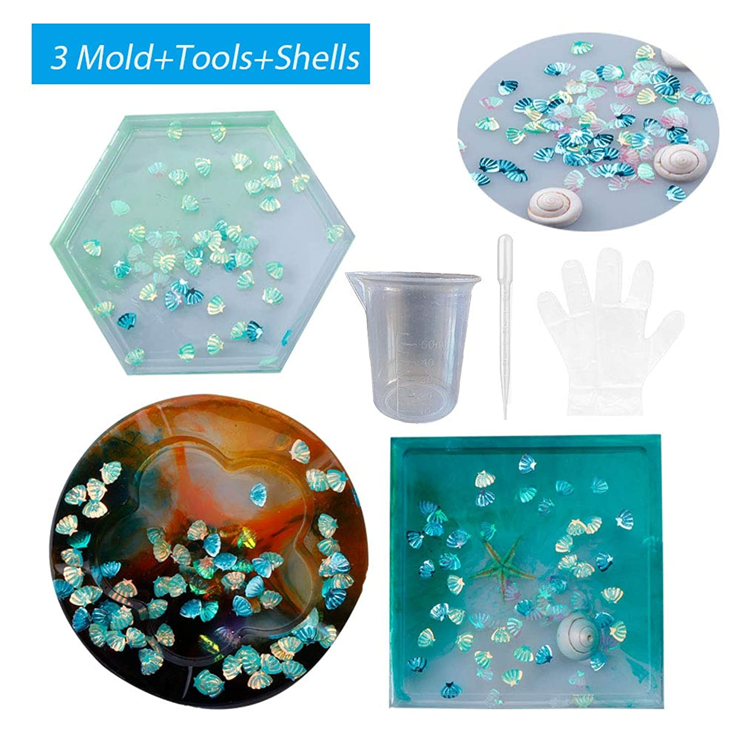 SEEKVER 3 Pack DIY Silicone Molds,2 Coaster Silicone Molds and 1 Ashtray Silicone Molds,Includ Round,Square Molds for Casting with Resin,Cement